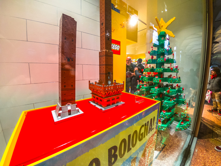 Bologna, Italy - December 6, 2018: construction model in Lego blocks of the Famous Two Towers building, the Due Torri of Bologna. In Lego store of Via Indipendenza street. Editorial