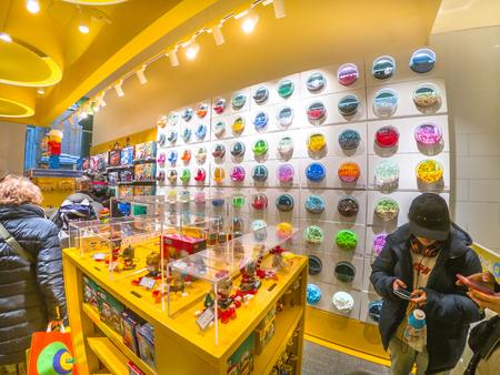 Bologna, Italy - December 6, 2018: multicolor Lego containers full of Lego bricks in the Lego shop of Bologna.