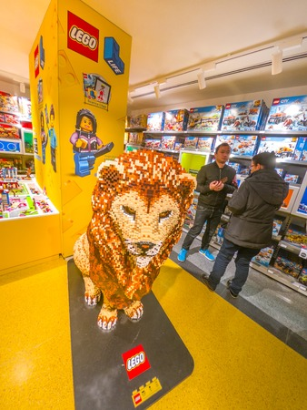 Bologna, Italy - December 6, 2018: King Lion Lego statue vertical at the famous toys store Lego bricks of Bologna. Located in Via Indipendenza street, inaugurated on 6th December 2018. Editorial