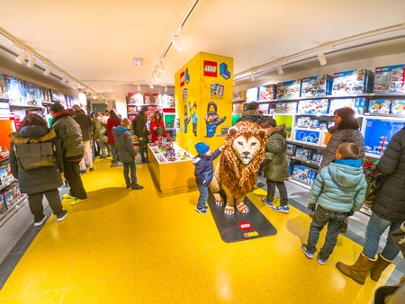 Bologna, Italy - December 6, 2018: recent inauguration of the famous constructions toy bricks, the Lego Store of Bologna town.