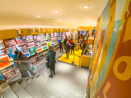 Bologna, Italy - December 6, 2018: ground floor interior of the famous toys store of Bologna, Lego bricks. In Via Indipendenza street, after the recent inauguration.