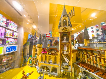 Bologna, Italy - December 6, 2018: interior of the toys store of Bologna of Lego bricks. Located in Via Indipendenza street. Harry Potter Hogwarts Castle close up in Lego blocks. Editorial
