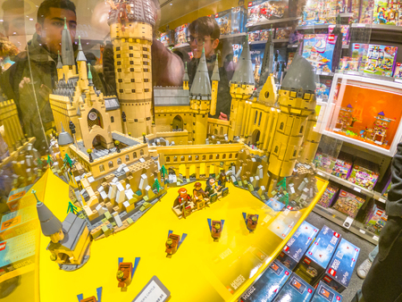 Bologna, Italy - December 6, 2018: Harry Potters Castle of Lego close-up in Lego blocks. Lego store of Bologna. Editorial