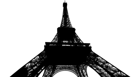 Paris and Eiffel Tower silhouette isolated on white. France.