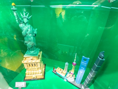 Bologna, Italy - December 6, 2018: the Lego set Statue of Liberty of New York at new opening Lego toys store of Bologna.