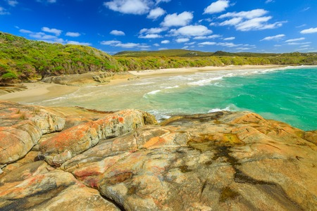 Australian travel summer destination. Waterfall Beach in Denmark region, Western Australia. Great Southern Ocean coastline in William Bay National Park. Sunny day, blue sky. Stok Fotoğraf