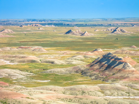 Scenic aerial panorama of Badlands National Park in South Dakota, United States. American travel destination. Natural surreal landscape.
