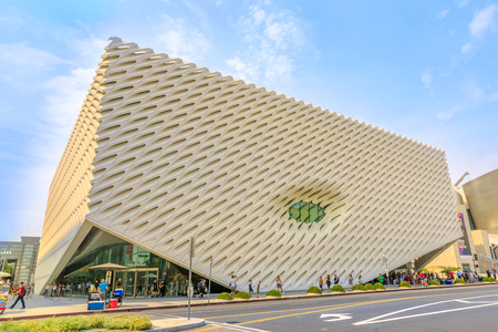 Los Angeles, California, United States - August 9, 2018: the big futuristic structure of The Broad, a contemporary art museum on the Grand Avenue in Downtown Los Angeles. Blue sky in a sunny day. Editorial