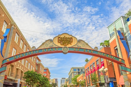 San Diego, California, United States - July 31, 2018: Historic Heart of San Diego sign entrance of San Diegos Gaslamp Quarter in Downtown with Victorian architecture of Fifth Avenue on background. Editorial