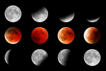 Full red moon phases on black background. The total phases of the lunar eclipse.