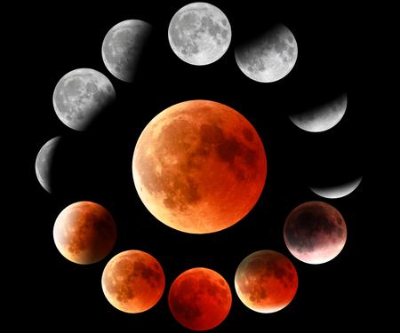 Vollrote Mondphasen im Kreis auf schwarzem Hintergrund. Die Gesamtphasen der Mondfinsternis werden rot.
