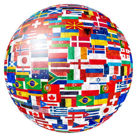 Drapeaux des pays du monde et en forme de globe sphère sur fond blanc : Angleterre Russie Italie Espagne Écosse Allemagne États-Unis, Chine Grèce France Brésil Japon Canada Russie et Europe, Cuba, Finlande et Royaume-Uni.