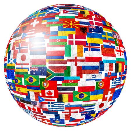 Lijst van vlaggen van landen van de wereld en in bol globe vorm op witte achtergrond: Engeland Rusland Italië Spanje Schotland Duitsland VS, China Griekenland Frankrijk Brazilië Japan Canada Rusland en Europa, Cuba, Finland en het Verenigd Koninkrijk.