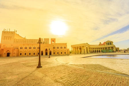 Scenic sunset sky landscape of Katara cultural village or valley of cultures in Doha, West Bay District, Qatar. Middle East, Arabian Peninsula. Famous tourist attraction in Doha city. Stock Photo