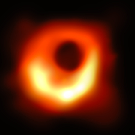 ILLUSTRATION: Visual representation of first picture of a Black Hole, revealed on 10th April 2019 by the scientists. Black hole at the center of galaxy Messier 87, or M87. background wth copy space.