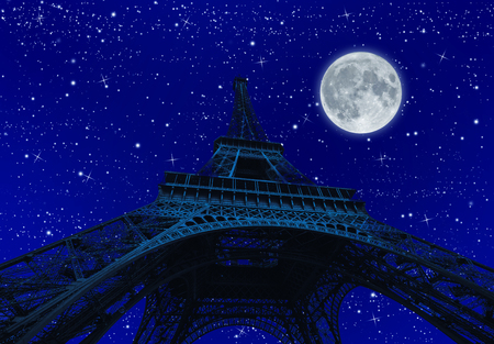 spooky full moon shining with dark Tour Eiffel at night with stars. Paris in France.