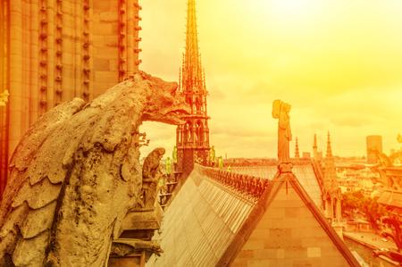 gargouille mythologique statue de la cathédrale Notre-Dame incendiée en avril 2019. Paris, capitale de la France. Vue de dessus de l'église gothique Notre-Dame de Paris, vue aérienne sur les toits de Paris au coucher du soleil.