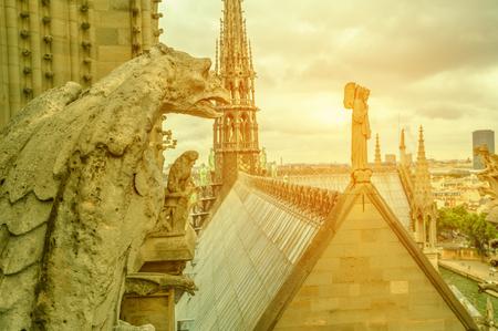statue de gargouille mythologique de la cathédrale Notre-Dame sur les toits de Paris au coucher du soleil. Paris ville capitale de la France. Vue aérienne de dessus de l'église gothique Notre-Dame de Paris.