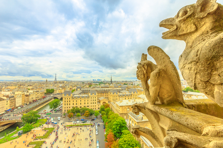 The gargoyles of Notre Dame cathedral from aerial view on Paris skyline. Paris city capital of France. Top view of the gothic church Our Lady of Paris, Eiffel Tower on the horizon.