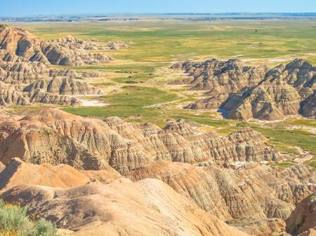 Aerial view of eroded pinnacles at Badlands National Park in South Dakota, United States. American travel destination. Stock Photo