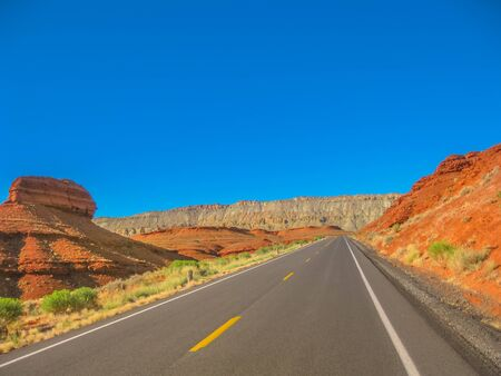 Road trip at Bighorn Canyon National Recreation Area, a national park between Wyoming and Montana, United States. Summer season. Blue sky with copy space. 写真素材