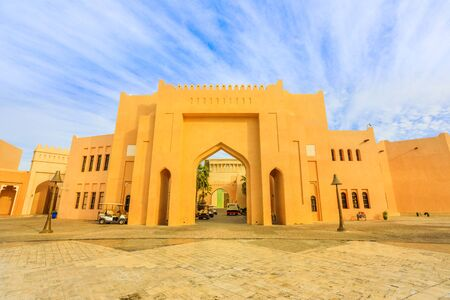 Scenic landscape of Katara cultural village entrance or valley of cultures in Doha, West Bay District, Qatar. Middle East, Arabian Peninsula. Famous tourist attraction in Doha city.