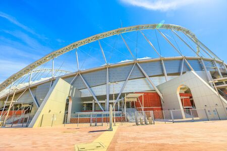 Doha, Qatar - February 21, 2019: main stadium of Qatar in Aspire Park, the Khalifa Stadium that will host the 2022 World Cup. National Stadium, fully covered with a revolutionary cooling technology. 新聞圖片