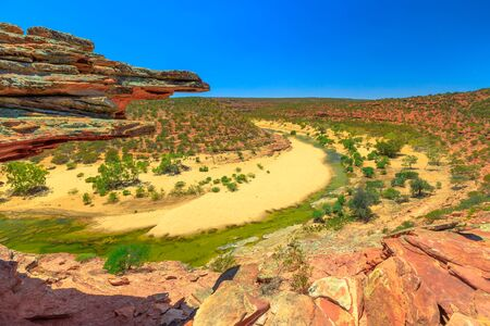 Panorama from Natures Window over Murchison River Gorge in Kalbarri National Park, Western Australia. Popular walk trail in WA. 写真素材 - 128239173
