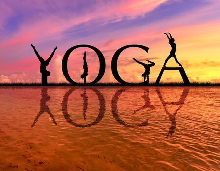 YOGA word on sunset sea with of young active women stretching in Yoga pose to keep fit and health. Healthy lifestyle, flexibility training, sport activity in summer holiday.