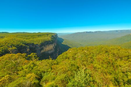 Blue Mountains National Park near Sydney in New South Wales, Australia. Aerial view of Govetts Leap Lookout, Blackheath area, one of the most famous park views.