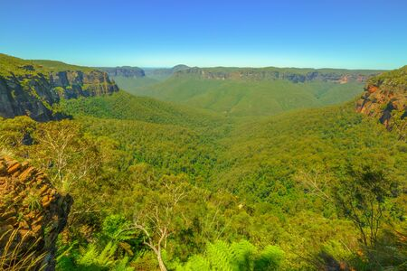 Blue Mountains panorama landscape along the most impressive walking trail in the National Park, the Grand Canyon Walk. New South Wales, Australia.