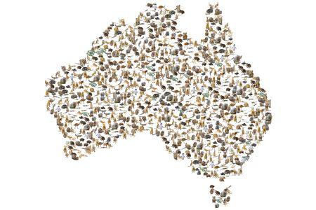 Australian animals in Australian map. Wildlife animals: Emu, Echidna, Tasmanian Devil, Wombat, Kangaroo, Wallaby and Penguin, Ducks, Snakes Lizards and Horse. Isolated on white background