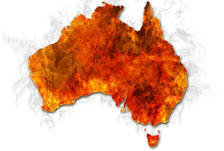 Australia bushfires Map. Conceptual: save australian wildlife, global warming, natural disaster, climate change isolated on white background. Stock Photo
