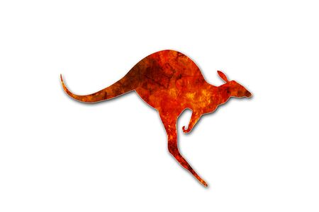 Flaming kangaroo jumping isolated on white background. Kangaroo escaping from a fire in Australia forests. Conceptual: save kangaroos, global warming, natural disaster, climate change.