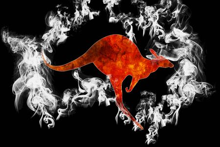 Australia bushfires. Flaming kangaroo running surrounded by silhouette of Australia Map made of smoke. Conceptual: save kangaroos, global warming, natural disaster, climate change on black background.