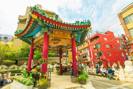 Yokohama, Japan - April 21, 2017: Chinese architecture in Yokohama Chinatown, the Japans largest Chinatown, central Yokohama. Urban pedestrian street area.