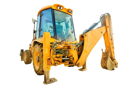 Front view of yellow excavator with long arm along coastal road. Work in progress, industrial machine. isolated on white background with copy space 版權商用圖片