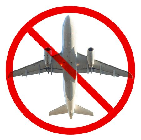Cancelled flight and no-flight airplane symbol. Crisis concept of airlines, business travel, and tourism. Lockdown for Coronavirus COVID-19 epidemic. Isolated on white background.