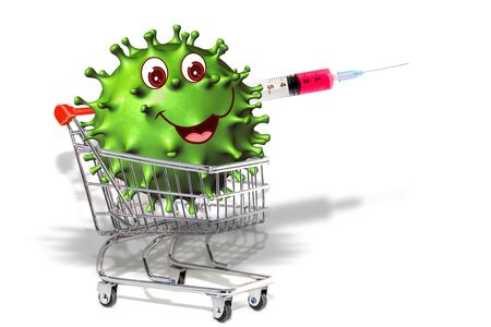 Coronavirus COVID-19 on a shopping cart. Internet shopping online concept during quarantine of 2019-nCoV or COVID 19-NCP. Comics of COVID-19 coronavirus on white background. 3D illustration. Reklamní fotografie