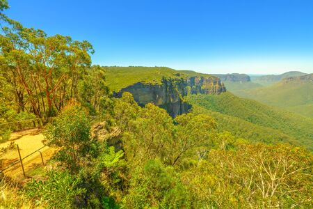 Landscape of Govetts Leap Lookout, Blackheath, one of the most famous park views. Blue Mountains National Park near Sydney in New South Wales, Australia.