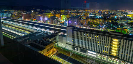 Aerial view of Kyoto night Cityscape Skyline from outdoor observation deck on top floor of Kyoto Station, the major railway station transportation in Kyoto and Japans second largest station building 에디토리얼
