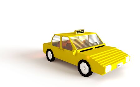 Yellow 3D blocks taxi car on white background. Typical New York cab drivers car. copy space