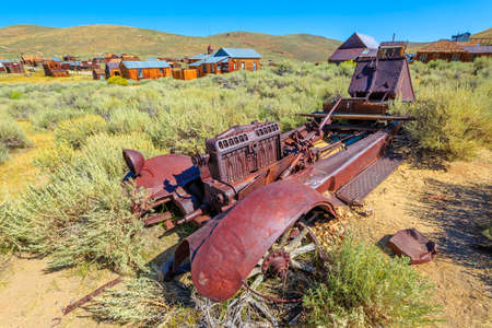 Rusty wreck of the vintage old car, in Bodie state historic park, Californian Ghost Town. The United States of America.