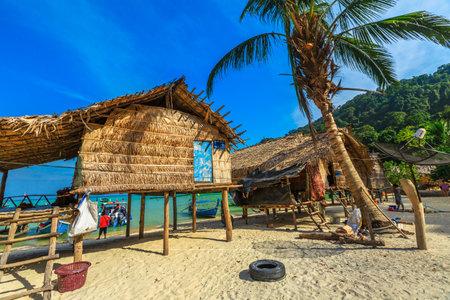 Surin Islands, Phang Nga, Thailand - January 3, 2016: Moken Village of the Thai Sea Gypsies. Fisherman village Ko Surin Marine National Park, Andaman Sea, North Phuket.