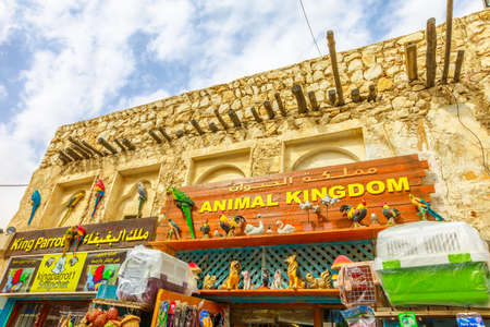 Doha, Qatar - February 19, 2019: animal kingdom pet shop along pedestrian road inside Bird Souq, the animal market and popular tourist attraction in Doha center. Bottom view of historic building. Editorial