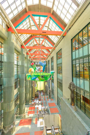 Los Angeles, California, United States - August 9, 2018: interior of Los Angeles Public Library. The Library with a pyramid-shaped tower decorated with mosaics, is inspired by ancient Egypt. VERTICAL
