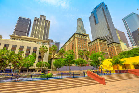 Los Angeles, California, United States - August 9, 2018: skyscrapers skyline and colorful Pershing Square, urban public park in Los Angeles Downtown, Southern California. Urban cityscape. Editorial