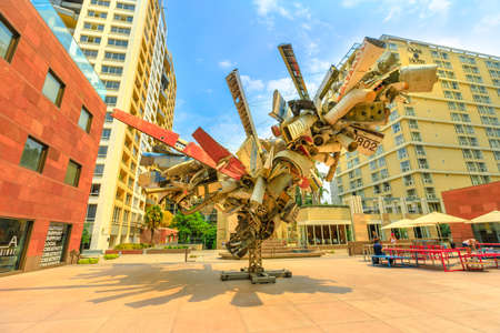 Los Angeles, California, United States - August 9, 2018: modern sculpture outside Museum of Contemporary Art, MOCA on Grand Avenue in downtown Los Angeles. Blue sky, sunny day. Urban cityscape.