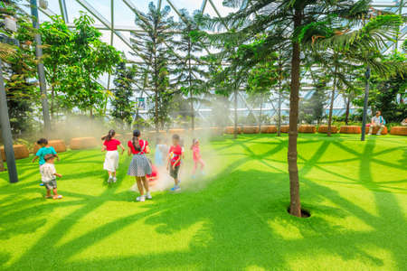 Singapore - Aug 8, 2019: funny kids at Foggy Bowls, a simple playground features bowl-shaped platforms with artificial lawn which release mists in Canopy Park at Jewel Changi Airport Singapore.