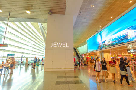 Singapore - Aug 8, 2019: interior of terminal. People walking inside new Jewel Changi International Airport opened in April 2019.